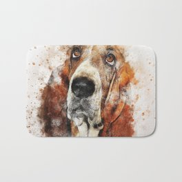 Cute Abstract Bassett Hound Dog Bath Mat