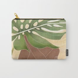 Woman with Monstera Leaf Carry-All Pouch