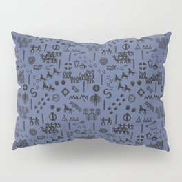Peoples Story - Black on Blue Pillow Sham