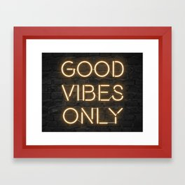 Neon Good Vibes - Orange Framed Art Print