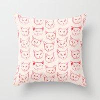 novelty Throw Pillows featuring Red Cat by leah reena goren