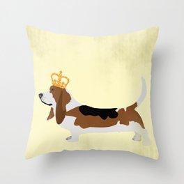Royal Basset Hound Dog  Throw Pillow