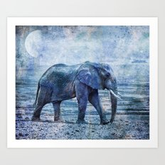 The Elephants Journey blue moon Art Print