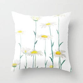 white daisy watercolor horizontal Throw Pillow