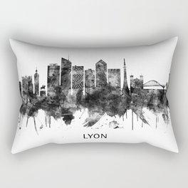 Lyon France Skyline BW Rectangular Pillow