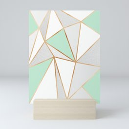 Mint Green, Grey & Gold Geo Mini Art Print