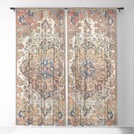 Ferahan Arak  Antique West Persian Rug Print Sheer Curtain