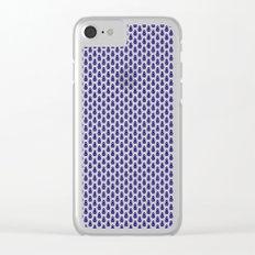 Indian Flowers Blockprint 1 (Dark Blue) Clear iPhone Case