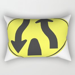 """""""Divided highway"""" - 3d illustration of yellow roadsign isolated on white background Rectangular Pillow"""