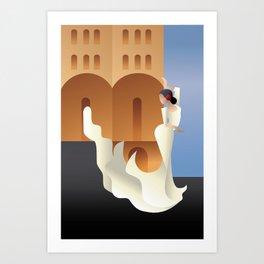 Art Deco Spain Flamenco dancer on sity landscape Art Print