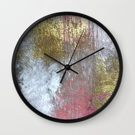 Golden Girl: a pretty abstract mixed media piece in pink, white, gold, and gray Wall Clock