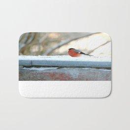 Red Plumage - Bullfinch male - #decor #society6 #buyart Bath Mat