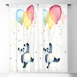 Birthday Panda Balloons Cute Animal Watercolor Blackout Curtain