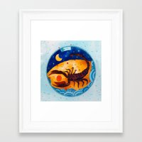 scorpio Framed Art Prints featuring Scorpio by Sandra Nascimento