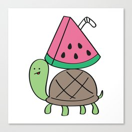Turtle with Watermelon Drink Canvas Print