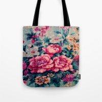 vintage floral Tote Bags featuring Vintage Floral  by CLE.ArT.