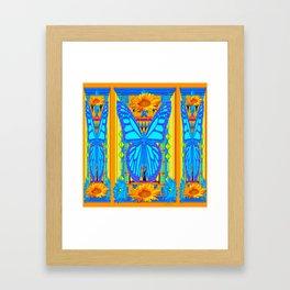 Blue Butterflies Gold Floral Deco Art Framed Art Print