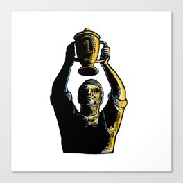 Worker Winning Championship Trophy Cup Woodcut Canvas Print