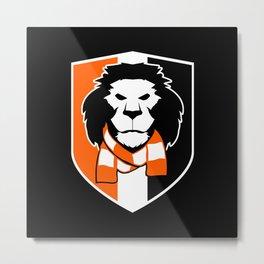 Lion logo - shield, black background Metal Print