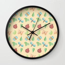 Cute Little Bugs & Leaves Pattern Wall Clock