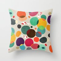 koi Throw Pillows featuring Lotus in koi pond by Picomodi