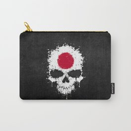 Flag of Japan on a Chaotic Splatter Skull Carry-All Pouch