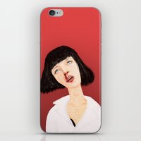 mia wallace iPhone & iPod Skins featuring Mrs Mia Wallace by Dobleu
