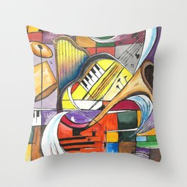 Abstract art with musical instruments and some graphic shapes by Abha Throw Pillow
