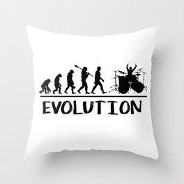 Evolution of a drummer Throw Pillow