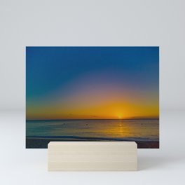 Setting Sun And Sea Mini Art Print