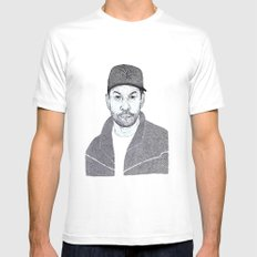 Denzel Washington Portrait Mens Fitted Tee MEDIUM White