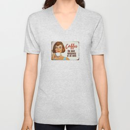 Coffee The Most Necessary of All Evils Vintage Coffee Ad Unisex V-Neck