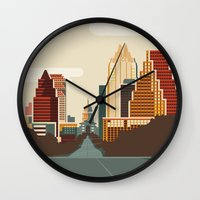 austin Wall Clocks featuring Austin Skyline by Kurtis Beavers