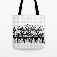 notebook Tote Bags featuring School notebook 3 by Eva Bellanger