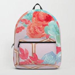 Blush pink hexagons succulent bouquet Backpack
