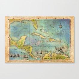 Caribbean Pirate + Treasure Map 1660 (Colored) Canvas Print