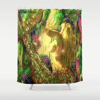 jelly fish Shower Curtains featuring Nude mermaid & jelly fish ladykashmir by ladykashmir goddess