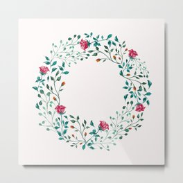 Spring Roses Wreath Pink Blush Metal Print