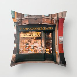 Stamp Shop in Gent Throw Pillow