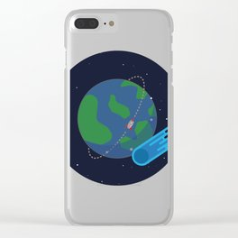 Earth Meteor Space Print Clear iPhone Case