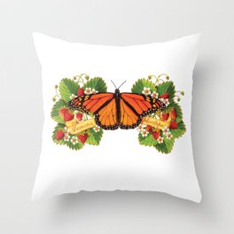 Monarch Butterfly with Strawberries Illustration Throw Pillow