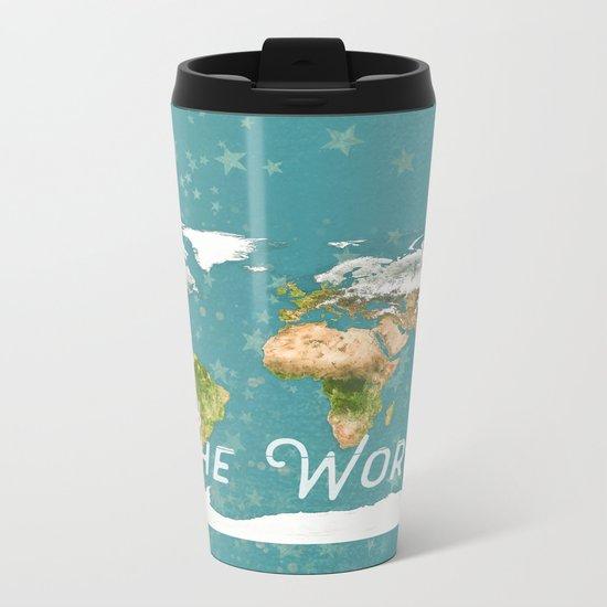 Teal World Star Map Metal Travel Mug