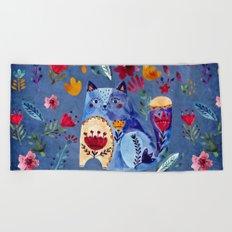 The Cheeky Cat in Flower Garden Beach Towel