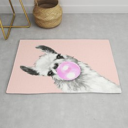 Bubble Gum Black and White Sneaky Llama in Pink Rug