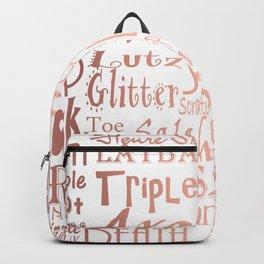 Figure Skating Subway Style Typographic Design Rose Gold Foil Backpack