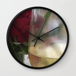 Wine and Single Red Rose Wall Clock