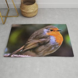 Plump Robin Perched On A Branch Rug