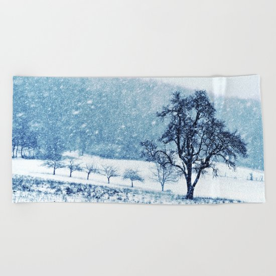 Old pear tree (cool edition) Beach Towel