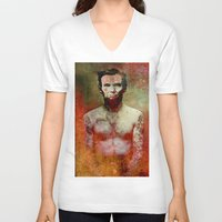 tatoo V-neck T-shirts featuring Abraham Tatoo by Joe Ganech