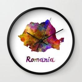 Romania in watercolor Wall Clock